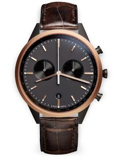C41 Chronograph watch in PVD rose gold / with brown alligator strap