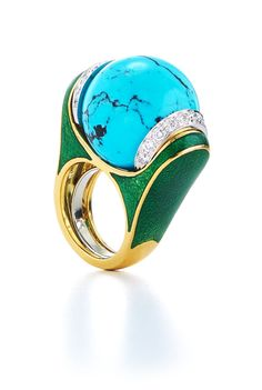 David Webb New York - Carved turquoise ball, brilliant-cut diamonds, black enamel, 18K gold, and platinum