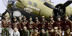 """B-17G """"SWAMP FIRE"""", with Korstjens Crew Standing with Ground Crew kneeling"""