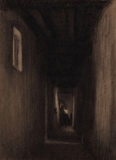 Le Couloir, Xavier Mellery. Belgian (1845 - 1921) - Charcoal and Scraping on Paper -