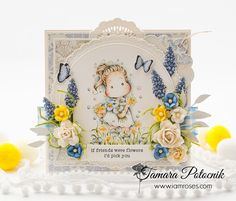 Handmade by Tamara: Friendship card ❀ I am roses Rainbow Paper, Magnolia Stamps, Friendship Cards, Ink Pads, Copics, Distress Ink, Watercolor Paper, Paper Flowers, Paper Crafts