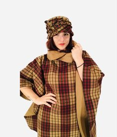 Wool woman poncho with hat .Warm, comparable and easy to wear #wool#woman#poncho#handmade#hat#design#sewn#style#girl#gift#wear#warm#comparable#beautiful#winter#classic#vintage#fashion Wool Poncho, Girl Gifts, Classic Style, Etsy Seller, Vintage Fashion, Plaid, Hat, Woman, Trending Outfits