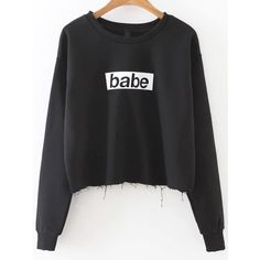 Black Letter Print Frayed Hem Sweatshirt (€14) ❤ liked on Polyvore featuring tops, hoodies, sweatshirts, sweaters, shirts, black, long sleeve tops, cropped long sleeve shirt, long sleeve shirts and cropped sweatshirts
