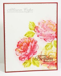 Stippled Blossoms stamp set on watercolor paper with distress inks.  Gorgeous.  No mention of what colors were used.