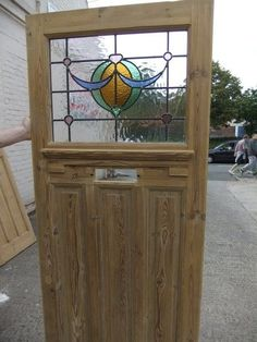 1930S ORIGINAL RECLAIMED EXTERIOR FRONT DOOR WITH STAINED GLASS BOW DETAIL