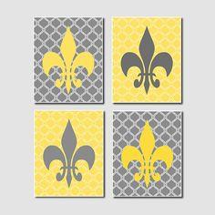 Yellow Gray Wall Art Quatrefoil Design by LovelyFaceDesigns, $35.00