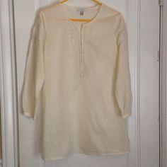 "J crew Cream tunic Like new - worn once or twice linen/Cotton sheer tunic . Great embroidery on front and sleeves. 27"" from top bottom to hem; 21.5"" sleeve; 19"" across chest J. Crew Tops Blouses"