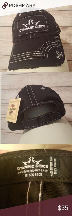 1536c58ec42 Black Dynamic Discs Disc Golf Distressed Hat Dynamic Discs Black White  Stich Distressed Strapback Hat NWT