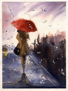 An exhibit of watercolor paintings by members of the Aquanet Art List focussing on one subject: Rain and Fog Umbrella Art, Umbrella Stands, Smell Of Rain, I Love Rain, Rain Painting, Walking In The Rain, Art Challenge, Lovers Art, Female Art