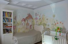 Adorable classically painted custom mural in a girls room. Looks like an illustration from a fairy-tale book. #fairytalemural