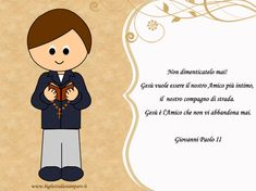 it files 2014 04 cartolina-comunione-bambino-frase. First Holy Communion, Diy And Crafts, Snoopy, Clip Art, Scrapbook, Cards, Handmade, Fictional Characters, Articles