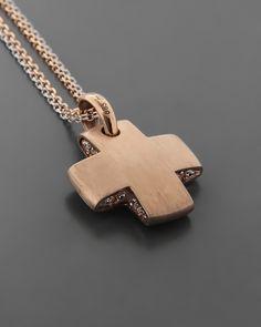 Σταυρός βάπτισης ροζ χρυσός Κ14 με Ζιργκόν   eleftheriouonline.gr Wood Necklace, Dog Tag Necklace, Pendant Necklace, Wood Crosses, Cross Jewelry, Silver Man, Cross Pendant, Cufflinks, Jewelry Design