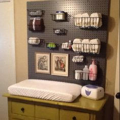 pegboard behind changing table - do this in closet.