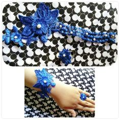 Blue flower lace bracelete and ring with pearl