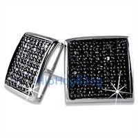 XXL Deep Dish Box Black CZ Bling Bling Micro Pave Earrings .925 Silver
