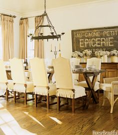 LaurieAnna's Vintage Home: Farmhouse Dining Room Inspiration Large Chalkboard in Dining Room. I like the size of the sign. Dining Room Chair Slipcovers, Dining Room Chair Covers, Dining Room Chairs, Dining Tables, Dining Area, Slipcover Chair, Trestle Tables, Chair Cushions, Casual Dining Rooms