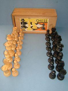 1960s Set of K Wooden Staunton Chess Men Chess by BiminiCricket, $55.00