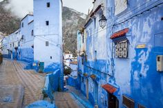 In the mountains of Morocco, away from the big cities, is an old city painted all in blue. To get lost in this maze of streets is a study in just one colour.
