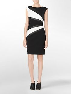 $119.50 faux leather accent geometric design sleeveless sheath | Calvin Klein