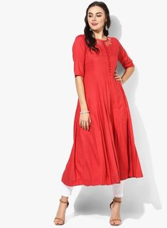 1e07d4021d0 Red Embroidered Anarkali Kurta