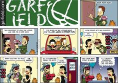 "Created by Jim Davis, Garfield is about the famous fat cat and his hilarious daily adventures with his ""pal"" Odie and others. Hagar The Horrible, Garfield Comics, Funny Comic Strips, Jim Davis, Do Your Best, Calvin And Hobbes, I Love To Laugh, New Man, Comic Character"
