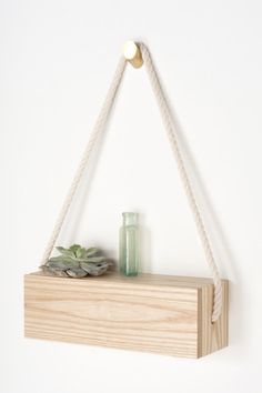 """Rope Shelf - $180 - Solid ash and accented with a cotton rope strap. 12""""×4""""×4"""" — Light + Ladder"""