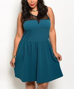 Look at this Green & Black Sheer Sleeveless Dress - Plus on #zulily today!
