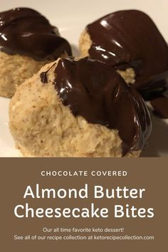 Healthy chocolate and cheesecake treats? I'm in! I love these keto Almond Butter Cheesecake Bites! #ketorecipecollection #ketodesserts