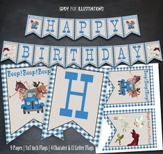 Little Blue Truck Banner, Little Blue Truck Happy Birthday Banner, Little Blue Truck Printables, party, favors, birthday supplies, flags by GreyFoxIllustrations on Etsy https://www.etsy.com/listing/485020630/little-blue-truck-banner-little-blue