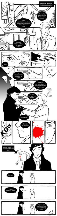 """Sherlock: Season 3 by ~BlueEyedPerceiver on deviantART"" THAT LAST PANEL! I love John"