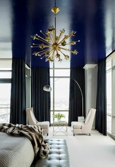 Bright Bedroom.. Stunning color..  Great pair of chairs