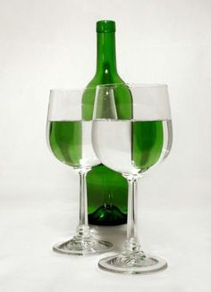Wine Bottle and Wine Glass Refraction Art