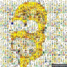 Homer Simpson illusion from many small pictures Eye Tricks, Sidewalk Art, Funny Games, Optical Illusions, 3 D, Mosaic, Collage, Photo And Video, Celebrities
