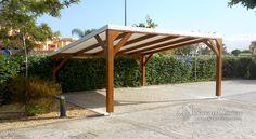 Pérgola de sombraje para parking de 2 plazas.  Estructura en vigas de madera laminada tratada para exteriores, cubierta en lona ignifuga tensada by NavarrOlivier.com