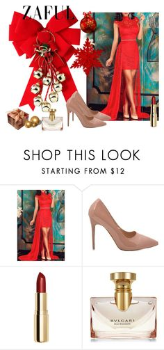 """Red Christmas...Zaful"" by merima-musanovic ❤ liked on Polyvore featuring H&M and Bulgari"