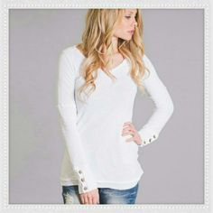 """Henley Top ❤ These cozy henley tops. This Henley Top is available in white size small and has two layers, a fleece lined jersey lining and an outer cotton layer. Top has extra long sleeves and adorable Button accents with colored thread and a raw edged hem. Top is NWOT  outside top is 100% polyester and inside is 65% polyester 35% rayon.  ✂ Bust is approx 16"""" across and  29.5"""" long   NO TRADES   ✔ Price is firm unless bundled Tops Tees - Long Sleeve"""