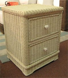 2 Drawer Wicker Nightstand in Whitewash