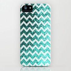 Mustache sparkley i Pod caces | Glitter Sparkly Bling Chevron Pattern (aqua) iPhone & iPod Case by The ...