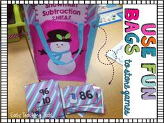 Winter Math Centers - Use these winter math centers in your 2nd or 3rd grade classroom or homeschool when the snow is falling. You get addition with regrouping, subtraction with regrouping, adding up to four numbers, up to 4-digit place value, & more. Snowbird, snowflake, & snowman topics included. Great for December or January mathematics instruction for second or third graders. #Winter #MathCenters