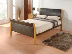"Limelight Capella. 4'6"" Double Faux Leather Bed"