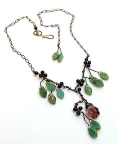 Green and Burgundy Statement Necklace by CherylParrottJewelry