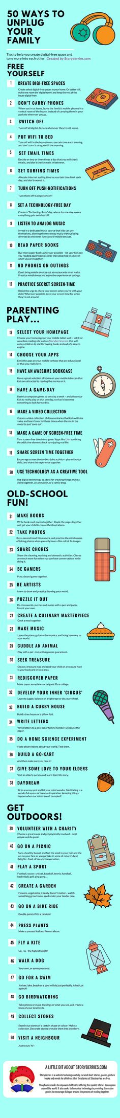 Fridge Chart of 50 Ways to Digital Detox Your Family by Storyberries