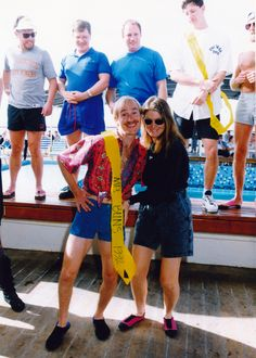 Mark and Patty on Mexican cruise from San Diego to Puerto Vallarta; this is the day Mark won Mr. Buns contest aboard ship, 1992