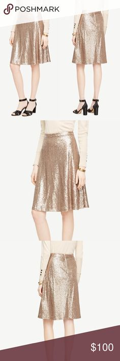 It's in! Ann Taylor Curvy Fit Sequin Flare Skirt Brand new with tags! Came right out of an online order bag only to be photographed. (011-0192)   PRODUCT DETAILS: •Size: 18 •Colors: Gold ( More of a Taupe / Gold Color) •Made in India •Measurements: Waist-19x2=38inch Length-25inch •100% Polyester (Shell and lining) •Curvy Fit •Back Zipper And Clasp closure  •Sequin Embellished •Ann Taylor is always High Quality Material •Machine Wash or Dry Clean  Tags: work career professional business party…