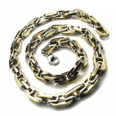 20.1 inch Titanium Golden Chain Shape Necklace 18366