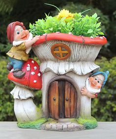 Look at this #zulilyfind! Two Gnomes & Red Mushroom House Flower Pot Planter #zulilyfinds