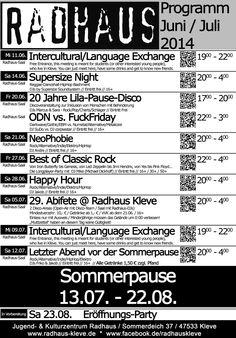 Radhaus-Programm Juni/Juli 2014 #radhaus #kleve #radhauskleve