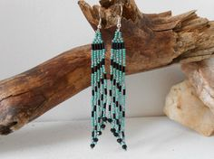 Hand Beaded Brickstitch Earrings with by FaeMoonWolfDesigns