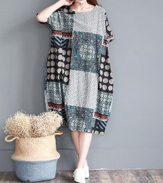 """【Fabric】 cotton ,linen 【Color】 Red, green 【Size】 Shoulder does not limit Bust 136cm / 53 """" Sleeve 23cm / 9 """" Great arm circumference 38cm / 15 """" Cuff around 35cm / 14 """" Len... #loose #leisure"""