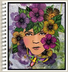 """anjas-artefaktotum: """"Spring Flowers are Life Powers"""" with: Designs By Ryn: Lucine, Hibiscus Flowers and Leaves, (stamps) and Japanese Anemone (stencil) and Donna Downey (Art journal)"""